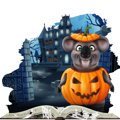 Kev the Koala dressed as a pumpkin with a haunted castle