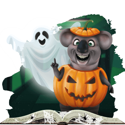 Kev the Koala and the Fair Ghost during Halloween